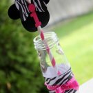 MINNIE MOUSE Hot Pink and Zebra Print Paper Straws