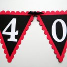 40th Birthday Pennant Banner - 40 ROCKS, Red, Black, White