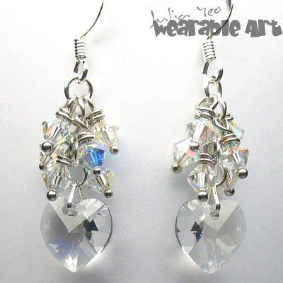 Wedding Hearts - Swarovski Crystal Earrings