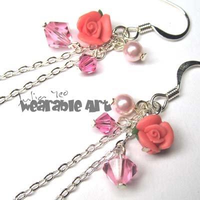 Jenna - Pink Swarovski Crystal Earrings / Polymer Clay