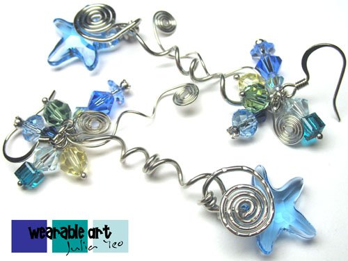 Aquamarine Life - Swarovski Crystal Starfish Earrings
