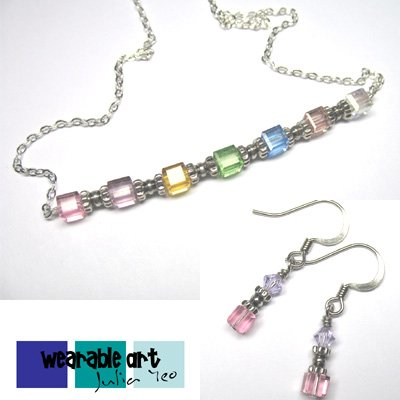 Pastel Delight ~ Swarovski Crystal Cubes Necklace & Earrings Set