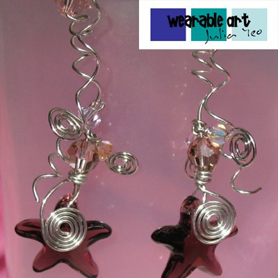 ~Beach Babe~ Swarovski Burgandy Starfish Earrings