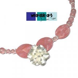 ~Sakura~ 99.9% and Sterling Silver Cherry Quartz Necklace
