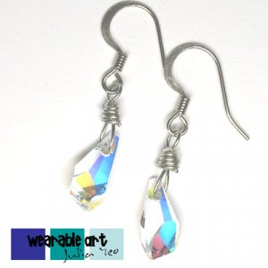 ~Polygon Drops~ Wire Wrap Swarovski Crystal Earrings