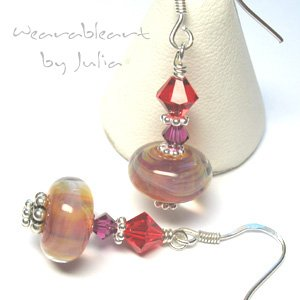*Colorful Life* ~ Boro Lampwork & Swarovski Crystal Earrings