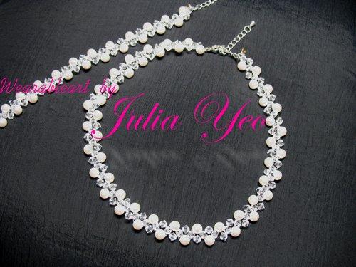 Innocence - White snowy handcrafted Swarovski necklace