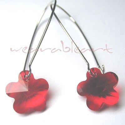 The little Red flower ~ Swarovski Pendant Earrings