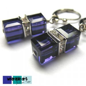 ~Purple Velvet Cubes~ .Swarovski Crystal Earrings