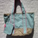 Tote Bag - Green-Stripes and Khaki with POUCH!