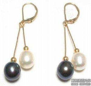 A-Noblest Charming White & Black Pearl 14K Earrings