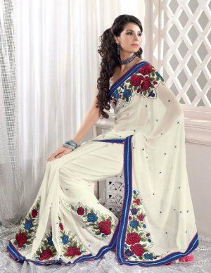 Faux Georgette Wedding Embroidered Bollywood Sarees Sari With Blouse - VF 461 N