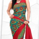 Indian Bollywood Faux Georgette Printed Sari With Unstitch Blouse - X 2196B N