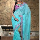 Wedding Faux Georgette Traditional Embroidered Saree Sari With Blouse - X 707 N