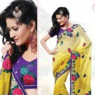 Bridal Pure Georgette Georgeous Embroidered Sarees Sari With Blouse - X 1013 N