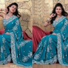 Wedding Faux Georgette Traditional Embroidered Saree Sari With Blouse - X 717 N