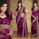 Wedding Faux Georgette Traditional Embroidered Saree Sari With Blouse - X 702 N