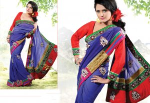 Bridal Pure Georgette Georgeous Embroidered Sarees Sari With Blouse - X 1001 N