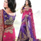 Bridal Pure Georgette Georgeous Embroidered Sarees Sari With Blouse - X 1019 N