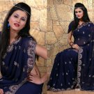 Wedding Faux Georgette Traditional Embroidered Saree Sari With Blouse - X 713 N