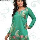 Indian Bollywood Korra Silk Partywear Embroidered Kurti Kurta Tops - X 108b