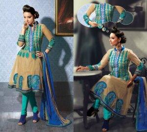 Net & Chiffon Partywear Embroidered Shalwar & Salwar Kameez - X 3427 N