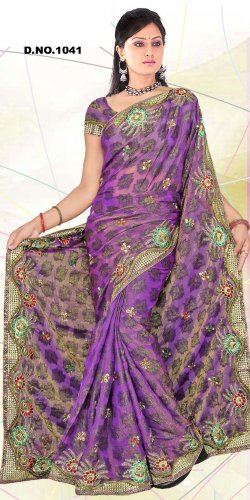 Partywear Tissue Embroidered Saree With Blouse - LS 1041 N