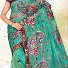 Partywear Net Embroidered Saree With Blouse - LS 102c N