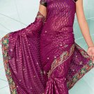 Partywear Faux Georgette Embroidered Saree With Blouse - LS 2379 N