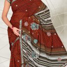 Partywear Faux Georgette Embroidered Saree With Blouse - LS 2461 N
