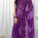 Faux Georgette Wedding Embroidered Bollywood Sarees Sari With Blouse - VF 455 N