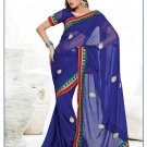Faux Georgette Partywear Designer Embroidered Saree Sari With Blouse - MF 11 N
