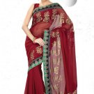 Faux Georgette Partywear Designer Embroidered Saree Sari With Blouse - MF 15 N