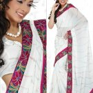 Faux Georgette Partywear Designer Embroidered Saree Sari With Blouse - MF 19 N