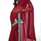 Faux Georgette Partywear Designer Embroidered Saree Sari With Blouse - MF 18 N