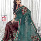 Faux Georgette Wedding Embroidered Bollywood Sarees Sari With Blouse - VF 453 N