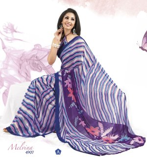 Sari Saree Faux Georgette Casual Printed With Unstitch Blouse - VF 4907a N