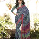 Crepe Casual Partywear Printed Saree Sari With Unstitch Blouse - VF 4806b N