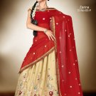 Partywear Crepe Jacquard Embroidery Lehenga Sari With Blouse - GW Zarina-03F N
