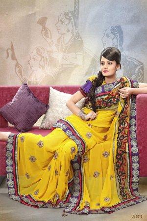 Georgette Wedding Designer Saris Sarees With Untitch Blouse - ANK - 2013 N
