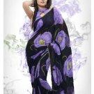 Faux Georgette Fabric Black & Violet Color Designer Printed Saree Sari - Nt 158