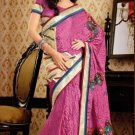 Faux Crepe Casual Designer Embroidered  Sarees Sari With Blouse - X 135B N