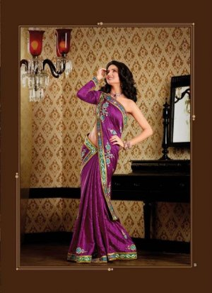 Faux Crepe Casual Designer Embroidered  Sarees Sari With Blouse - X 128B N