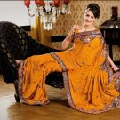 Faux Crepe Casual Designer Embroidered  Sarees Sari With Blouse - X 133B N
