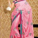 Faux Crepe Casual Designer Embroidered  Sarees Sari With Blouse - X 142B N