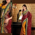 Faux Crepe Casual Designer Embroidered  Sarees Sari With Blouse - X 132B N