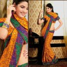 Faux Crepe Casual Designer Embroidered  Sarees Sari With Blouse - X 136B N