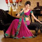 Faux Georgette Casual Designer Embroidered  Sarees Sari With Blouse - X 122B N