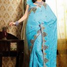 Faux Crepe Casual Designer Embroidered  Sarees Sari With Blouse - X 131B N