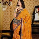 Faux Crepe Casual Designer Embroidered  Sarees Sari With Blouse - X 124B N